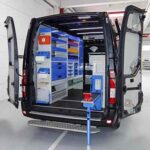 van racking Tecnolam with shelvings drawer units, wheel arch covers, cabinets for everything, perfect for medium and small tools.